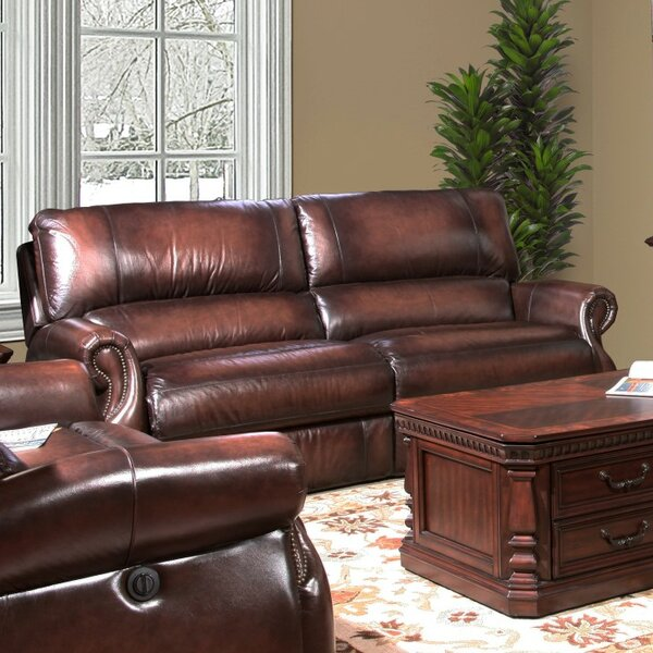 Hardcastle Hardcastle Leather Power Reclining Loveseat by Darby Home Co