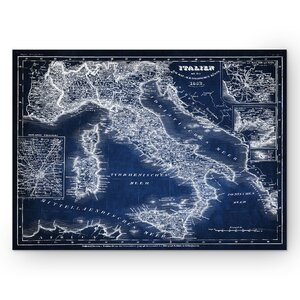 'Italy Sketch Map' Graphic Art Print on Wrapped Canvas in Blue by Wexford Home