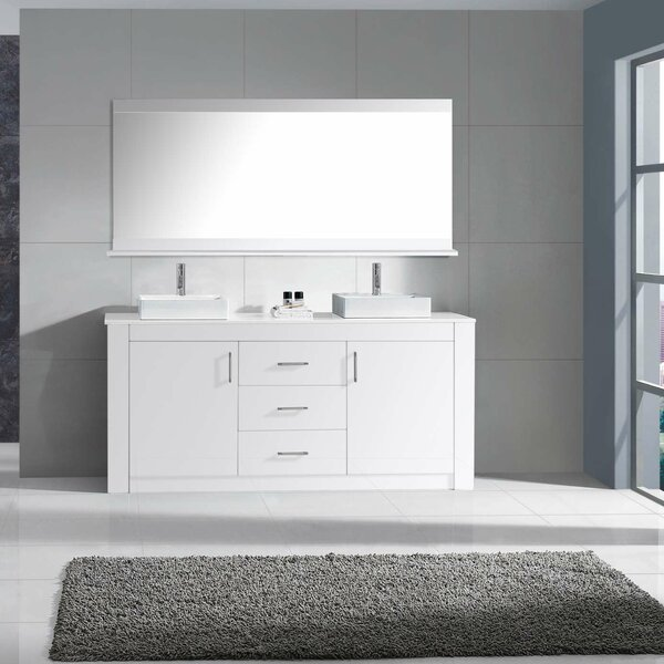 Glen Ridge 60 Double Bathroom Vanity Set with Snow White and Mirror by Wade Logan