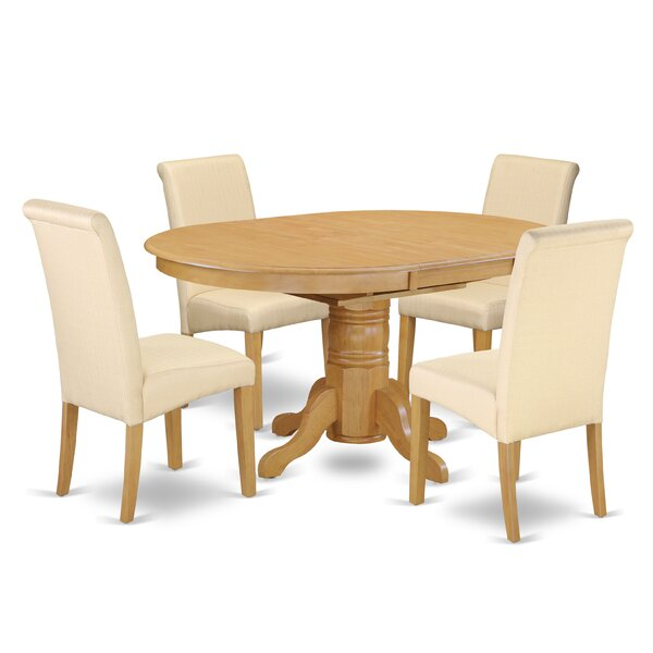 Park Ridge Oval Table 5 Piece Extendable Solid Wood Dining Set by Charlton Home