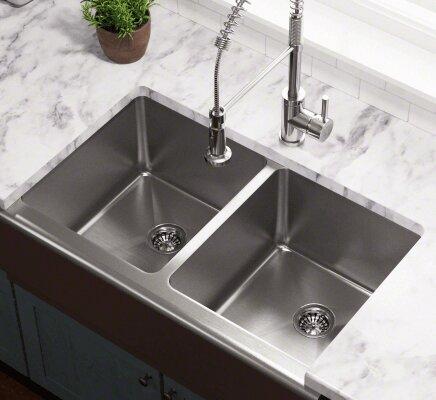 32.75 L x 20 W Double Equal Bowl Apron Kitchen Sink by Polaris Sinks