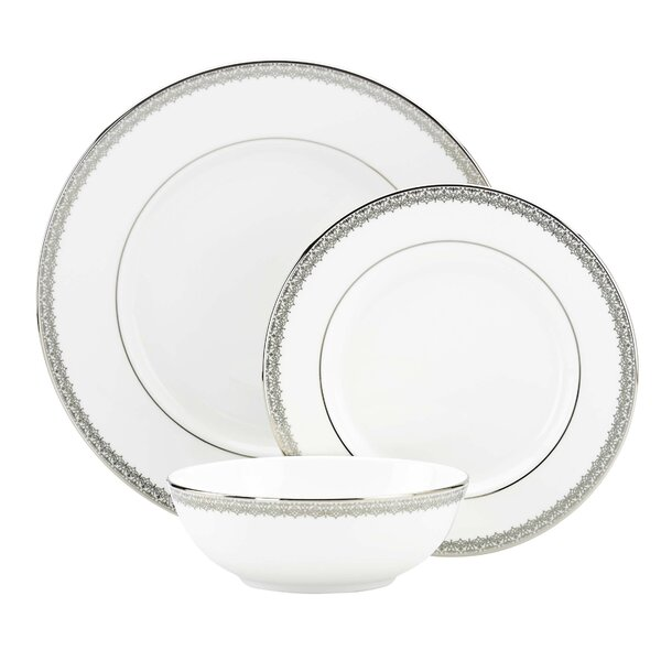 Lace Couture Bone China 3 Piece Place Setting, Service for 1 by Lenox