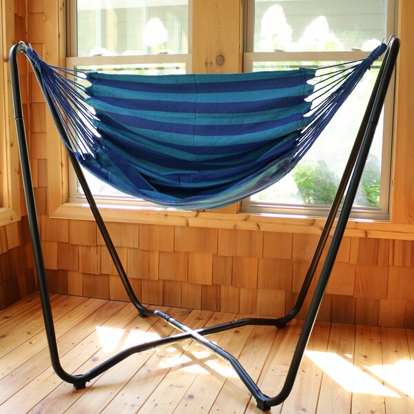 Krystal 2-Point Chair Swing and Space-Saving Hanging Cotton Chair Hammock with Stand by Freeport Park Freeport Park