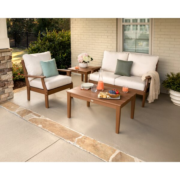 Braxton Deep 4 Piece Sunbrella Sofa Seating Group with Cushions by POLYWOOD®