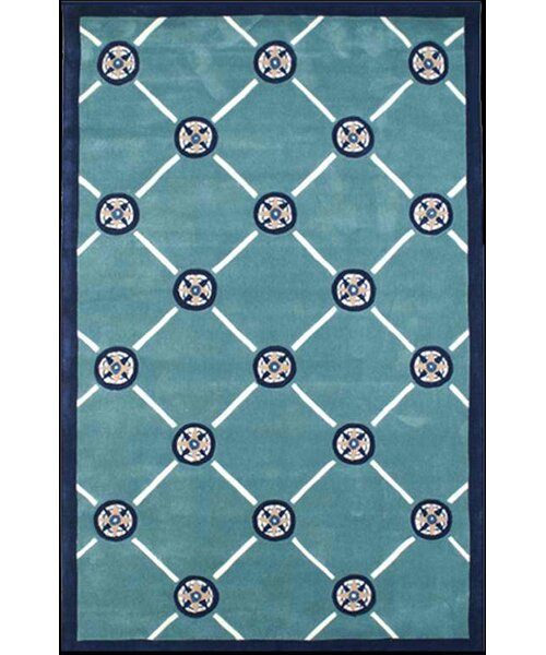 Beach Rug Teal Compass Novelty Rug by American Home Rug Co.