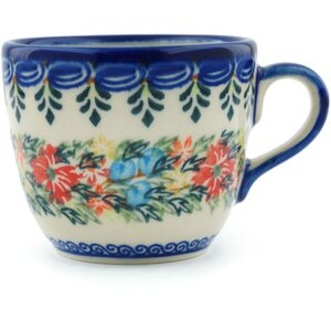 Polish Pottery Cornflower and Butterflies Coffee Mug
