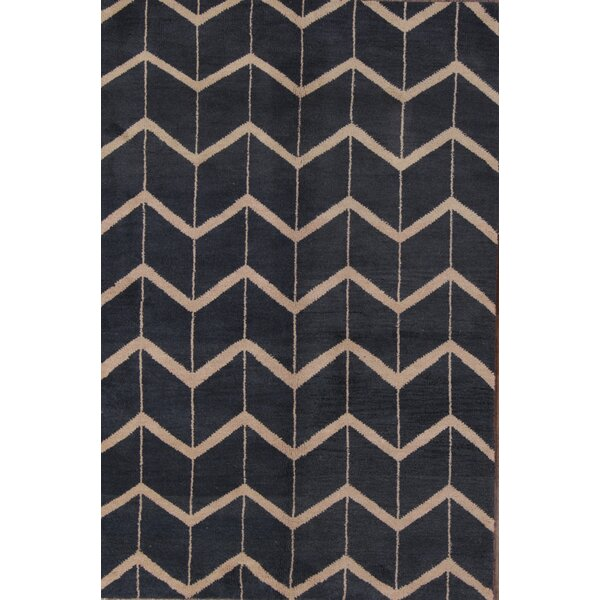 Laws Traditional Moroccan Geometric Trellis Oriental Hand-Knotted Wool Beige/Blue Area Rug by Brayden Studio