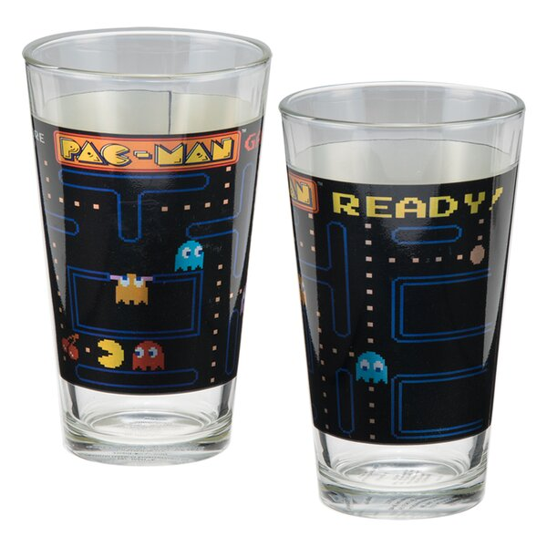 Pac-Man 2 Piece 16 oz. Glass Every Day Glass Set by Vandor LLC