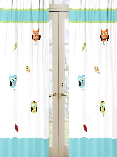 Hooty Wildlife Semi-Sheer Rod pocket Curtain Panels (Set of 2) by Sweet Jojo Designs