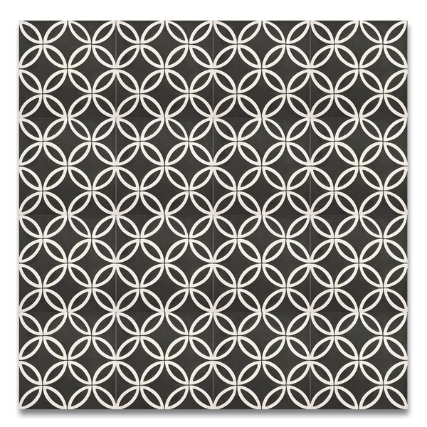 Amlo 8 x 8 Handmade Cement Tile in Black/White by Moroccan Mosaic