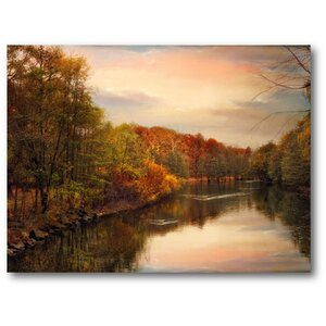 Farmhouse Canvas Sunset Pond Photographic Print on Wrapped Canvas by Courtside Market