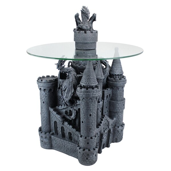 Lord Langton's Castle Glass Topped Sculptural End Table by Design Toscano Design Toscano