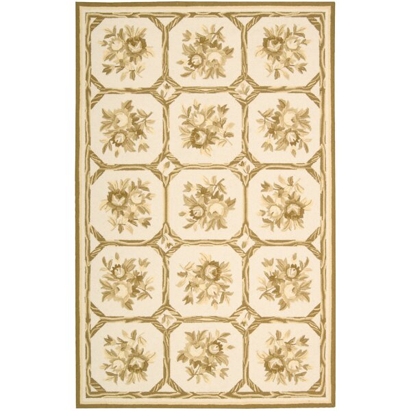 Kendall Hand-Hooked Ivory/Yellow Area Rug by August Grove