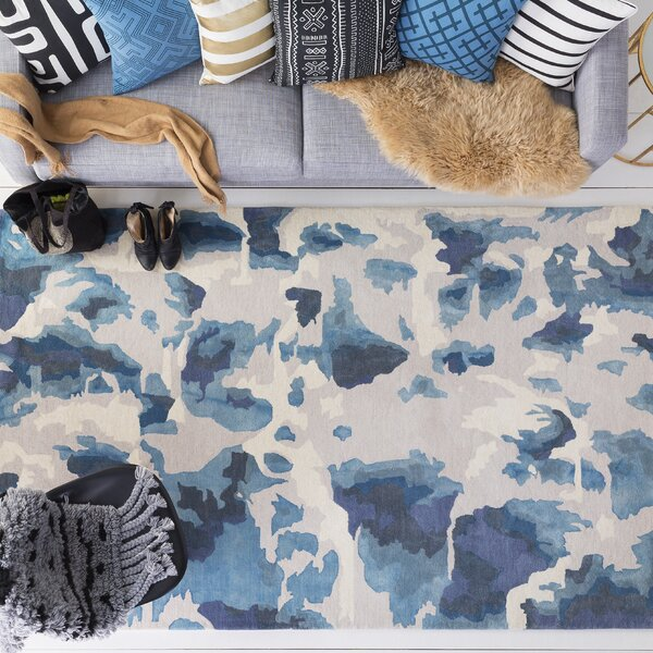 Ginsburg Hand-Tufted Wool Blue Area Rug by Ivy Bronx