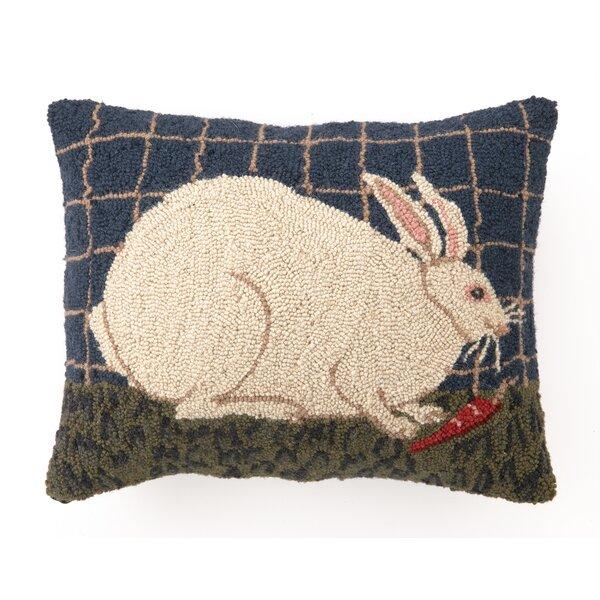 Gantz White Bunny Wool Throw Pillow by August Grove