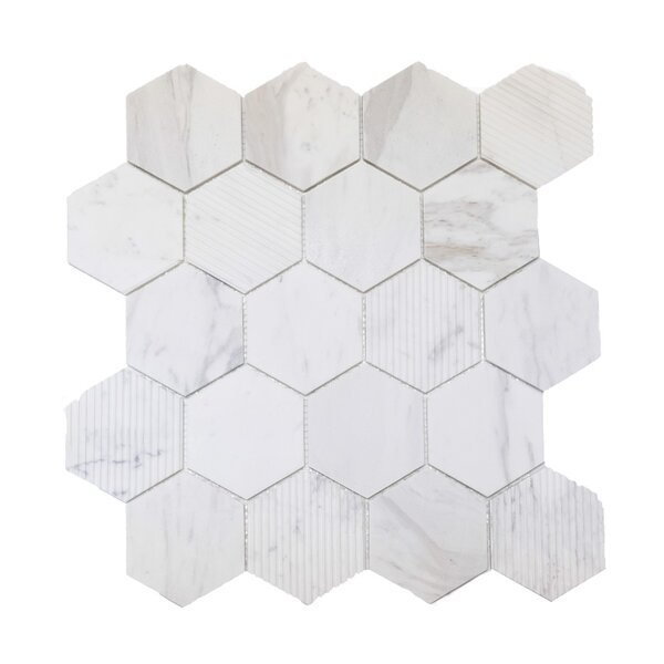 Hex Honeycomb 3 x 3 Mosaic Tile in Bianco Dolomite by Ephesus Stones