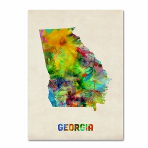 'Georgia Map' by Michael Tompsett Framed Graphic Art on Wrapped Canvas by Trademark Fine Art