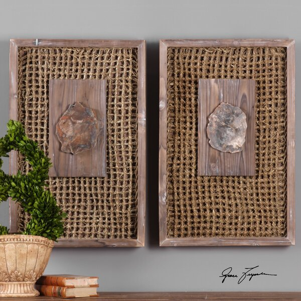 Wood Endicott Petrified Panel Wall Décor (Set of 2) by World Menagerie