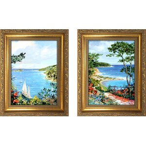 'Grand Walkway' 2 Piece Framed Oil Painting Print Set by Beachcrest Home