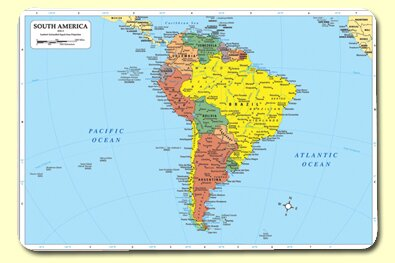 South America Placemat (Set of 4) by Painless Learning Placemats