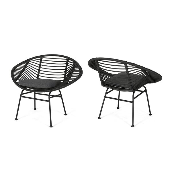 Maser Outdoor Woven Patio Chair with Cushion (Set of 2) by Bungalow Rose
