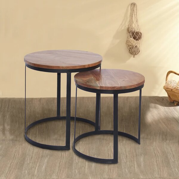 Aulay Iron 2 Piece Nesting Tables by Gracie Oaks