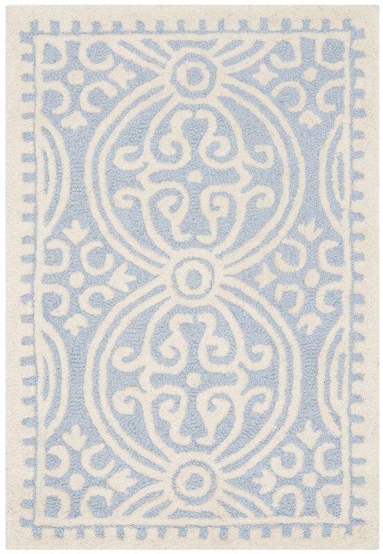 safavieh handgefertigter teppich palmer aus wolle in hellblau elfenbein bewertungen. Black Bedroom Furniture Sets. Home Design Ideas
