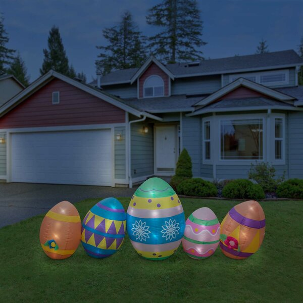 Easter Giant Egg Featuring Lighted Interior Inflatable by The Holiday Aisle