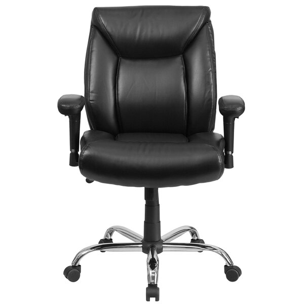 Laduke Mid-Back Leather Desk Chair by Symple Stuff
