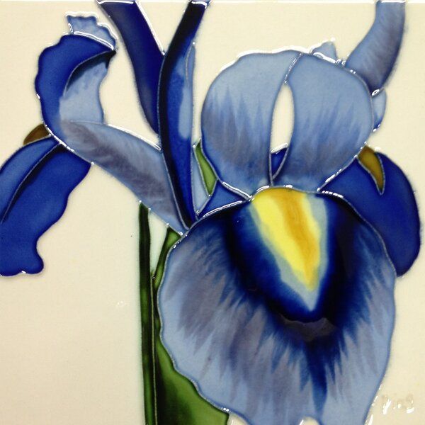 Blue Iris White Background Tile Wall Decor by Continental Art Center