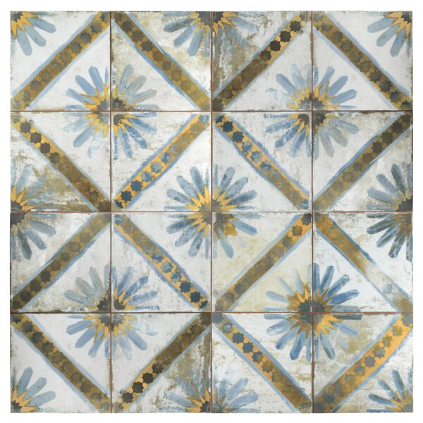 Royalty Marrakech 7.75 x 7.75 Ceramic Field Tile in Blue/Yellow by EliteTile