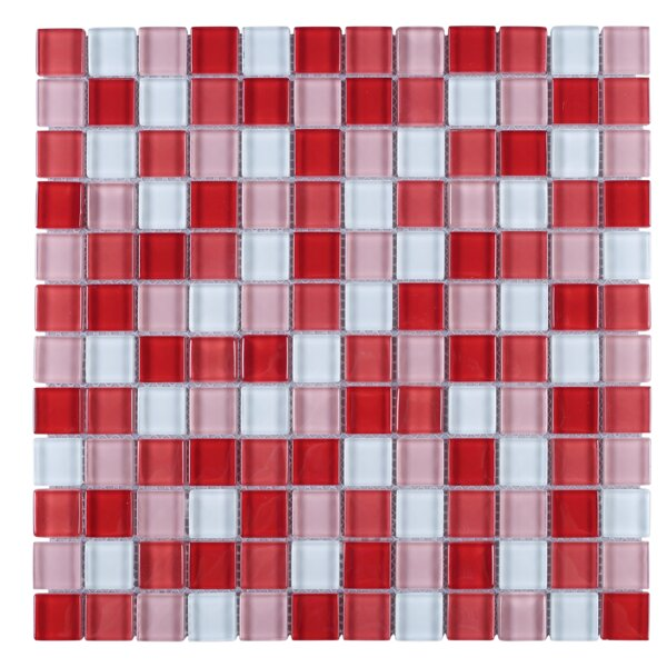 Maple Mix Grid Glass Mosaic Tile in Red/Pink by Multile