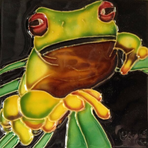 Yellow Frog On a Stem Tile Wall Decor by Continental Art Center