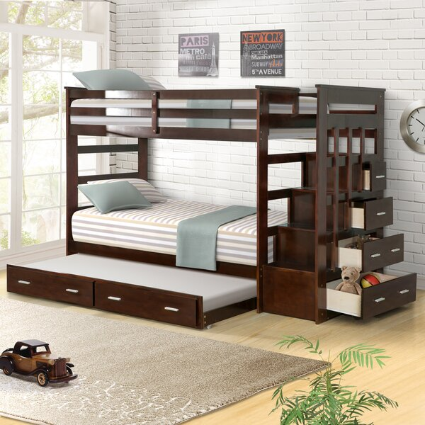 Jeremias Twin Over Twin Bunk Bed with Trundle and Drawers by Harriet Bee