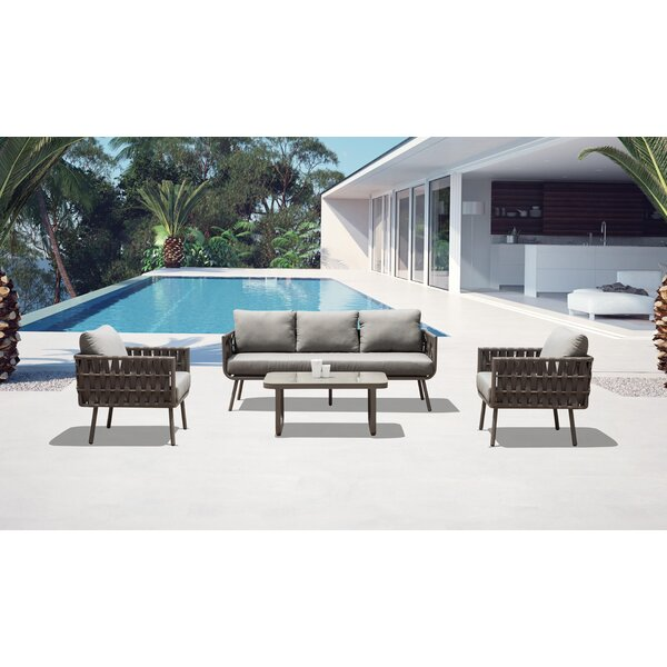 Delbert 4 Piece Rattan Sofa Seating Group with Cushions by Bungalow Rose