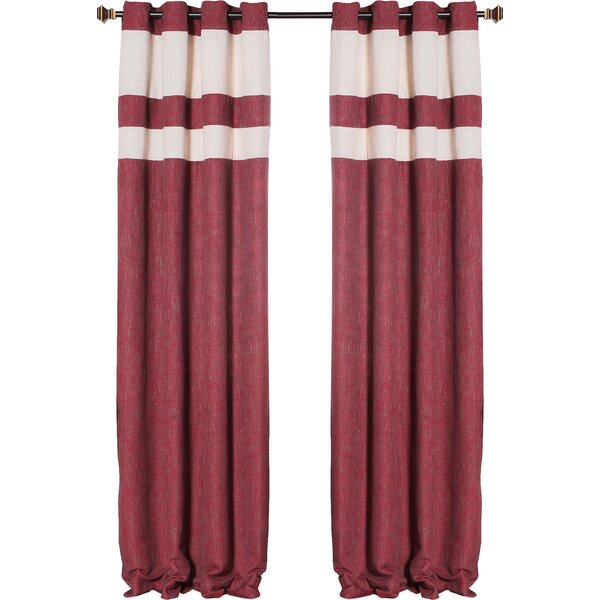 Heavyweight Striped Semi-Sheer Grommet Curtain Panels (Set of 2) by Best Home Fashion, Inc.