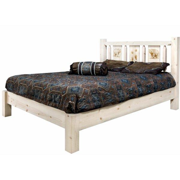 Tustin Laser Engraved Bear Design Platform Bed by Loon Peak