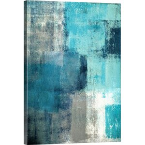 'Modern Teal and Gray Abstract' Print on Canvas by Great Big Canvas