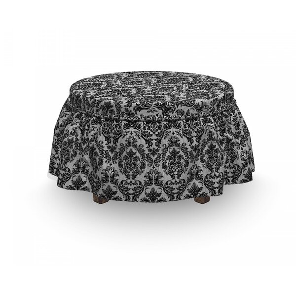 Baroque Vintage Lace 2 Piece Box Cushion Ottoman Slipcover Set By East Urban Home