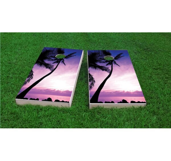 Palm Tree Sunrise Cornhole Game Set by Custom Cornhole Boards