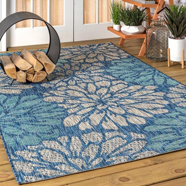 Hagy Floral Textured Weave Navy Indoor/Outdoor Area Rug by Winston Porter