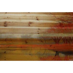 'Lake Morning Mist' by Parvez Taj Painting Print on Natural Pine Wood by Loon Peak