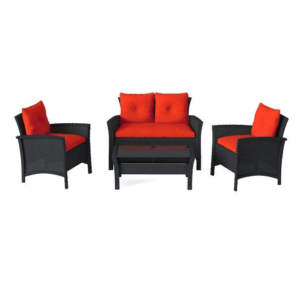 Kovac 4 Piece Rattan Sofa Seating Group with Cushions by Bayou Breeze