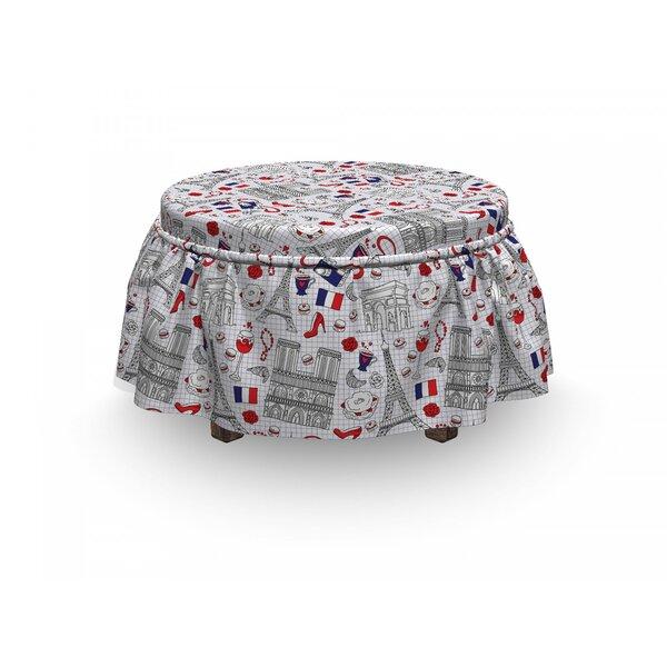 Eiffel French Travel 2 Piece Box Cushion Ottoman Slipcover Set By East Urban Home