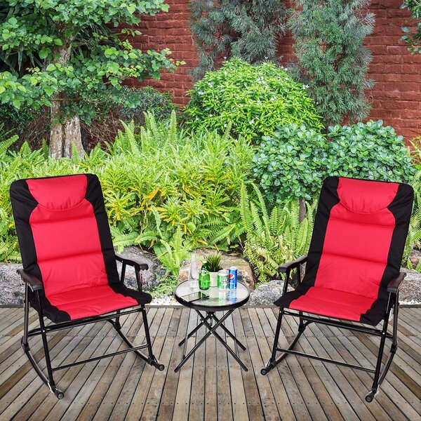Kuzey Outdoor Folding Rocking 3 Piece Seating Group by Latitude Run