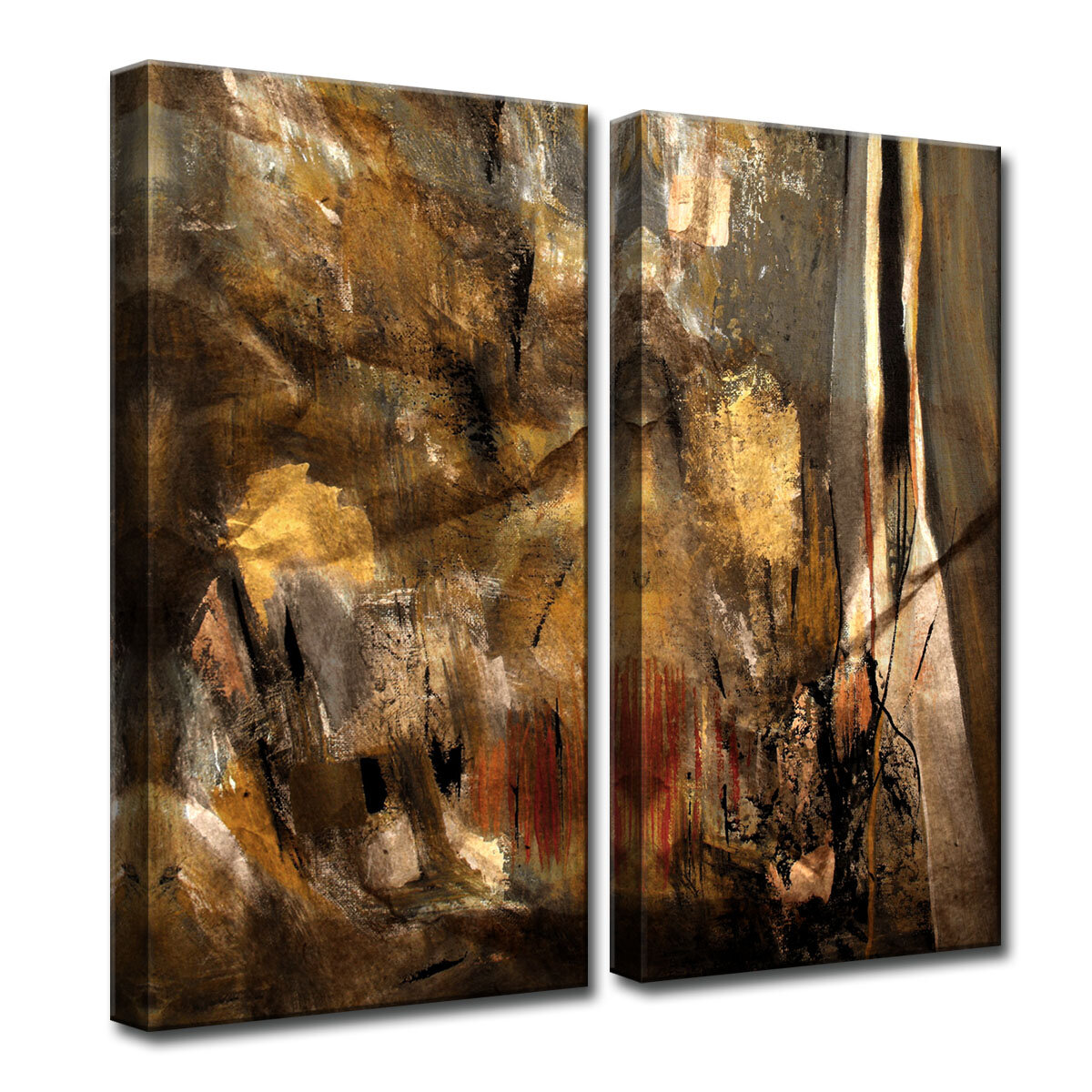 Earth Tone Abstract I 2 Piece Painting Print On Canvas Set