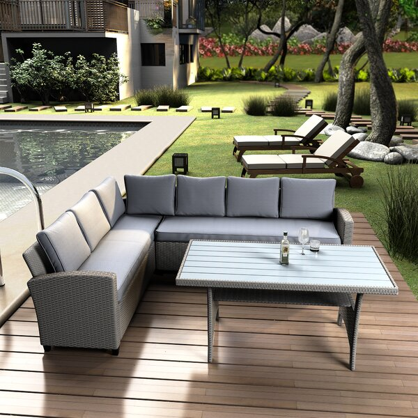 Amiko 3 Piece RattanSectional Seating Group with Cushions