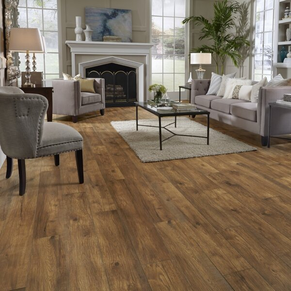 Restoration Wide Plank 8'' x 51'' x 12mm Hickory Laminate Flooring in Ember by Mannington