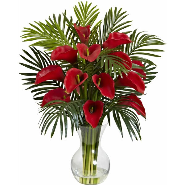 Calla Lily and Areca Palm Silk Flower Arrangement with Vase by Nearly Natural
