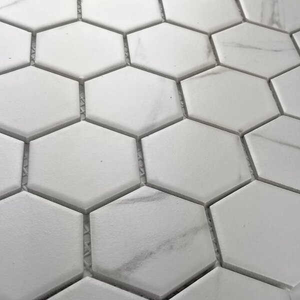 Monet Hexagon Nature Carrara 2 x 2 Porcelain Mosaic Tile in Matte White/Gray by Abolos
